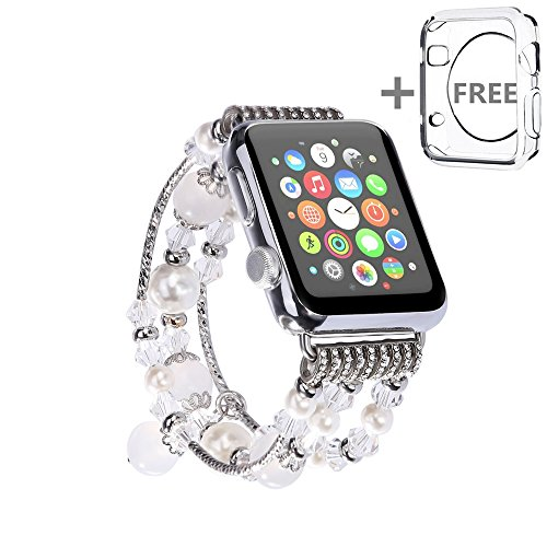 - For Apple Watch Band 38MM,Solomo [Jewel Series] Luxury Handmade Elastic Stretch Faux Agate and Crystal Bracelet Replacement with Women/Girls Wristband for Apple Watch Series 3/2/1 All Version (White)