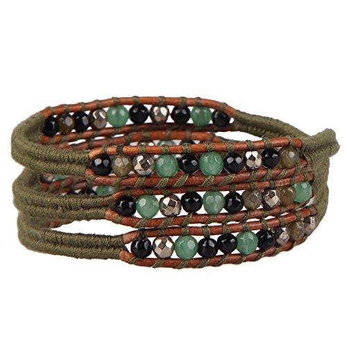 KELITCH Created Agate Crystal Beaded Bracelets Handmade 3 Wrap Bracelet New Charm Jewelry ()