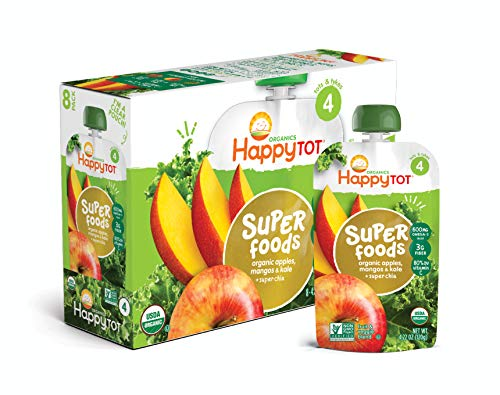 Happy Tot Organic Stage 4 Super Foods Toddler Food Apple Mango and Kale, 4.22 Ounce Pouch (Pack of 16) (Packaging May Vary)