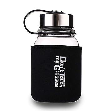 KOBWA Botella de Cristal para Agua con Bolsa Protectora, 700 ML/ 1 L Borosilicato