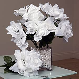 Tableclothsfactory 84 Artificial Open Roses Wedding Flowers Bouquets - White 36