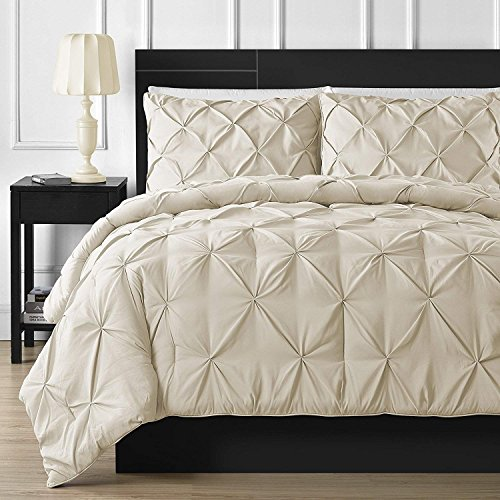 eliable Luxurious Pinch Pleated Duvet Cover 100% Egyptian Cotton 800 TC Stain Resistant & Hypoallergenic Comforter Cover (Super King (98 x 108 Inch) (1-Piece), Ivory) ()