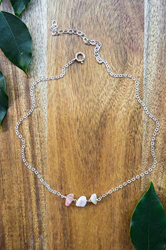 - Pink Peruvian opal beaded chain choker necklace in 925 sterling silver - 12