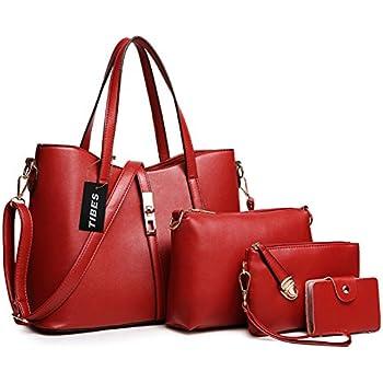 Tibes Fashion Top-handle Handbag+Shoulder Bag+Purse+Card Holder 4pcs Set  Tote Wine Red 8bbe35dce6d58