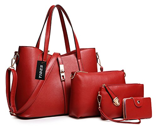 Tibes Fashion Women's PU Leather Handbag+Shoulder Bag+Purse+Card Holder 4pcs Set Wine Red