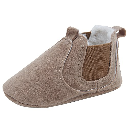 Kuner Baby Boys Girls HandmadeTassel Plush Soft Soled Winter Warm Boots Moccasins First Walkers Shoes (12cm(6-12months), Brown-1) - Moccasin Boots For Kids