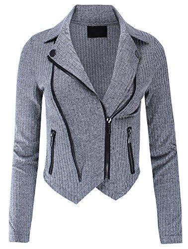Ladies' Code Mutli Zipper Detail Rib Fitted Jacket Charcoal M Size ()