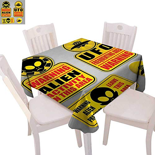 cobeDecor Outer Space Printed Tablecloth Warning Alien UFO Sign Face of Martian Creature Danger Horror Theme Print Flannel Tablecloth 50