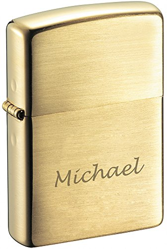 Personalized Zippo Brushed Brass Finish Lighter with Free Engraving