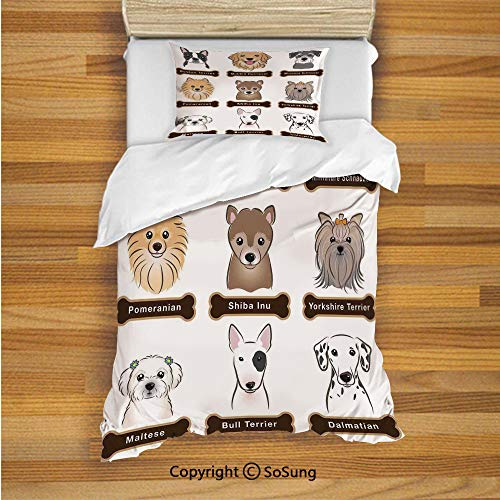 SoSung Dog Lover Decor Kids Duvet Cover Set Twin Size, Various Type of Dogs Nameplate Boston Terrier Domestic Animal Faithful Loyal 2 Piece Bedding Set with 1 Pillow Sham,Grey Cream White