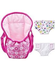 ZOEON Baby docka bärare ryggsäck och blöjor, docka tillbehör set för 18 tum dockor (40–45 cm) (1)