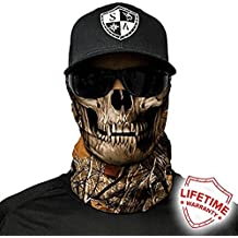 SA Company Face Shield Micro Fiber Protect from wind, dirt and bugs. Worn as a Balaclava, Neck Gaiter & Head band for Hunting, Fishing, Boating, Cycling, Paintball and Salt lovers. - Forest Camo Skull