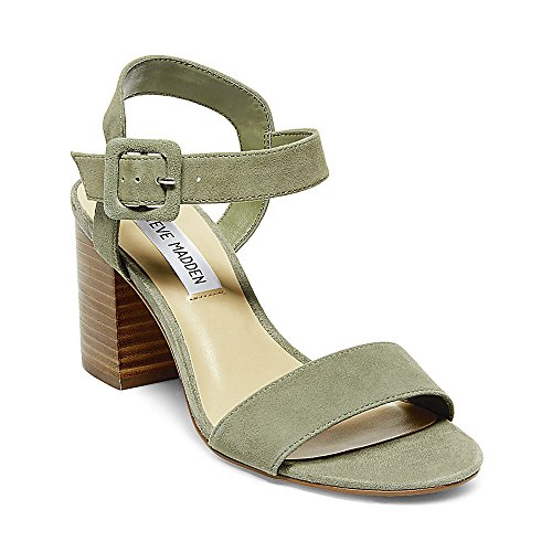 Suede Heel Suede Stacked Madden Steve Olive Dress Sandals Womens Zz4qHEwU