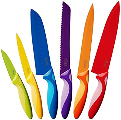 Easy Grip Kitchen Knife Set, 6 Piece Modern, Colored, Stainless Steel Knives by YumYum Utensils
