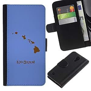 JackGot ( Lilo Stitc ) Samsung Galaxy S4 IV I9500 la tarjeta de Crédito Slots PU Funda de cuero Monedero caso cubierta de piel