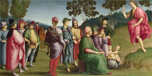 Oil Painting 'Raphael Saint John The Baptist Preaching', 24 x 48 inch / 61 x 122 cm , on High Definition HD canvas prints is for Gifts And Bed Room, Home Office And Living Room Decoration