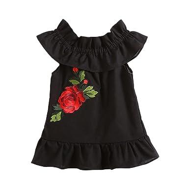 a3a3ac264ca46 Oyedens Robe Bébé Fille Ete Chic Vetement Bebe Fille Enfants Roses Broderie  sans Manches Robe Princesse