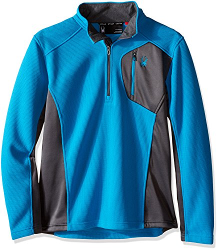 Spyder Men's Bandit Half Zip Light Weight Stryke Fleece Jacket, Large, Electric Blue/Polar