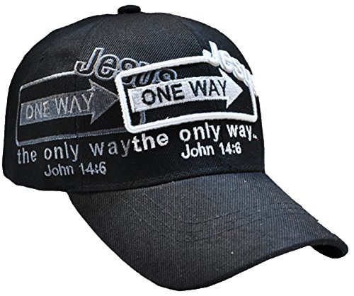 Jesus the Only Way One Way Sign Christian Baseball Cap BLACK Hat I Love Jesus Adjustable One Size Fit Most Heads Men Women and Older Teens Religious Accesory