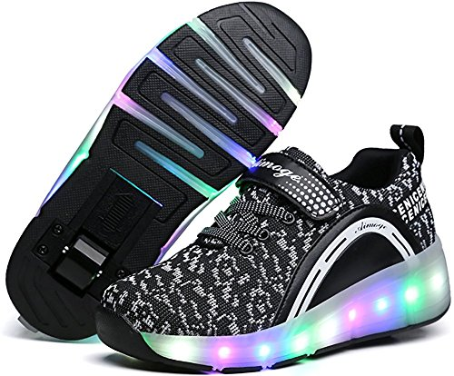 (Unisex Boys Girls LED Lighting Single Wheel/Double Wheels Roller Skate Sneakers(Black 1wheel 39/8 B(M) US Women / 6 D(M) US)