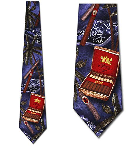 Cigar Ties Nature Neckties Cigar in the Tropics Tie Mens Necktie ()