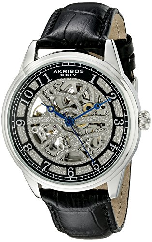 Akribos XXIV Men's AK807SSB Automatic Movement Watch with Silver and Black Dial Featuring Open Case back and Black Alloy Strap