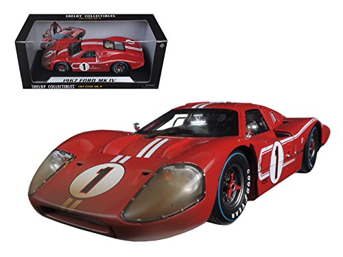 Shelby Collectibles SC427 1967 Ford GT MK IV #1 Red LeMans After Race Version Winner 24 Hours 1/18 Diecast Model Car