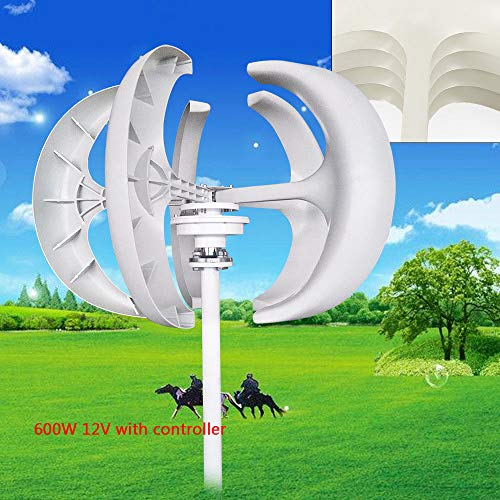 TBvechi Wind Turbine 600W 12V Wind Turbine Generator Red Lantern Vertical Wind Generator 5 Leaves Wind Turbine Kit with Controller No Pole (600W 12V, White)