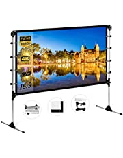 NIERBO Projector Screen with Stand 100 inch 16:9 HD 4K Portable Indoor Outdoor Movie Screen Foladable Outdoor Projector Screen Pull Up Projector Screen with Stand for Office,Home Theater, Backyard Movie