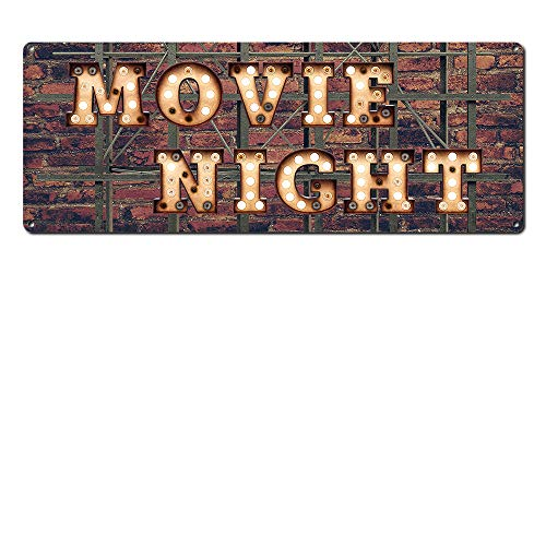 "Movie Night ~ Home Theater Decor ~ 6"" x 16"" Vintage Metal Sign ~ Wall Decor Marquee for Movie, Media, Cinema Room & Gifts for Movie Lovers, Buffs, Actor, Actress, Screenwriter, Producer (RK3073_6x16) by Alamazookie"
