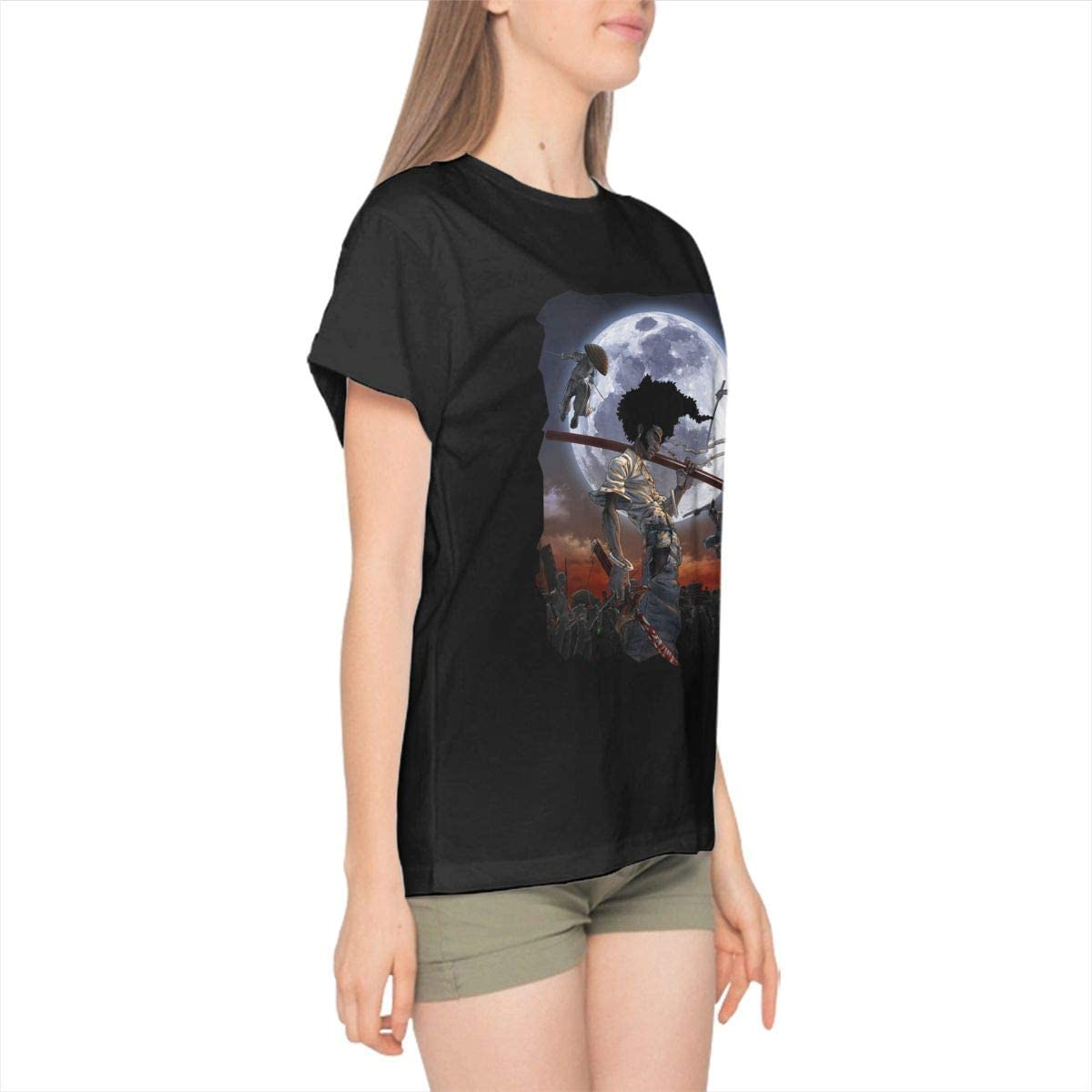 Womens Sports Afro Samurai Short Sleeve T Shirts