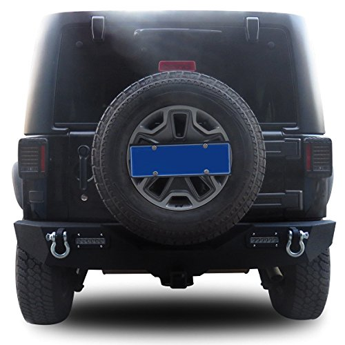b1e977fccd Goplus Rear Bumper For 2007-2016 Jeep Wrangler JK With Hooks & Fog Light  Hole
