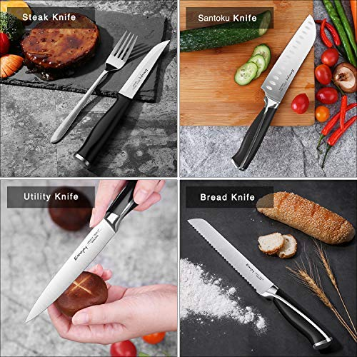 Emojoy Knife Set, 15-Piece Kitchen Knife Set with Block, ABS Handle for Chef Knife Set, German Stainless Steel, by Emojoy (Black) by Emojoy  (Image #5)