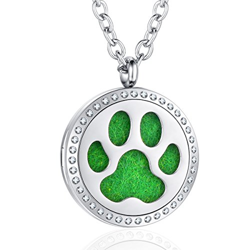 - AZORA Aromatherapy Essential Oil Diffuser Locket Dog Paw Print Necklace Pendant Jewelry for Women Girls Boys Kids