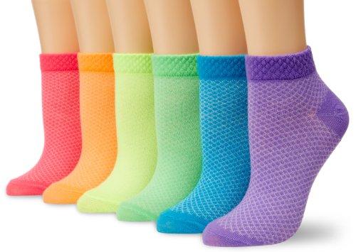 Womens Neon Liner Socks - K. Bell Women's 6 Pack Fashion No Show Liner Socks, Neon Pique, 9-11