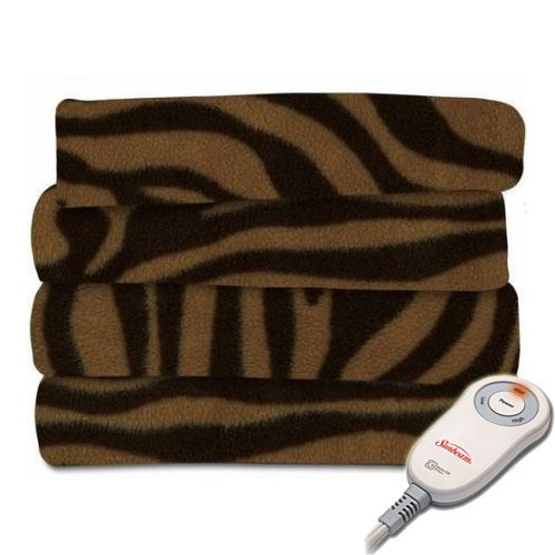 Sunbeam Heated Throw Blanket Fleece or Imperial Plush Electric Assorted Colors (Tiger Brown, Extra Soft/3 Heat Settings/Fleece Throw) TSF8USR904-33AW
