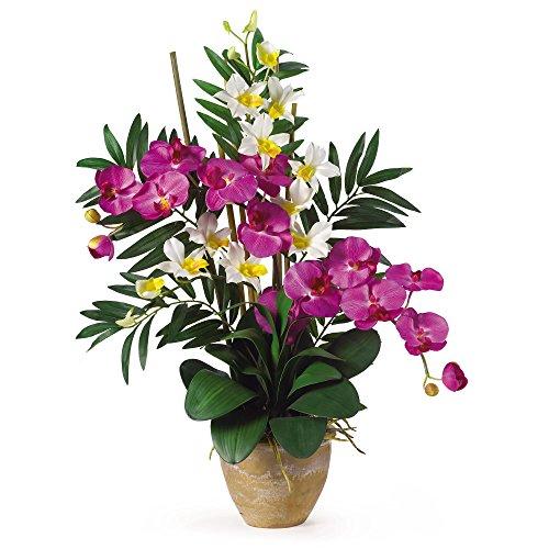 GREATHOPES Double Phal/Dendrobium Silk Flower Arrangement Orchid/Cream Home Decoration Flowers ()