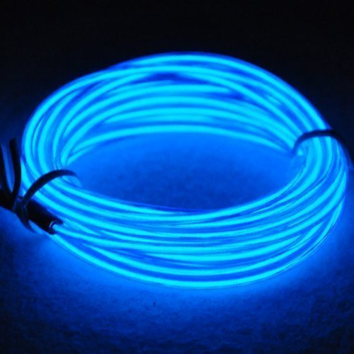 TopYart Neon LED Light Glow EL Wire Battery Pack String Strip Rope Tube Car Dance Party + Controller (15ft , Blue -