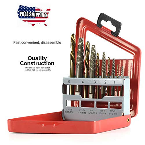 Screw Extractor, 10pc Screw Extractor | Right Hand Cobalt Drill Bit Set Easy Out Broken Bolt by Little Story