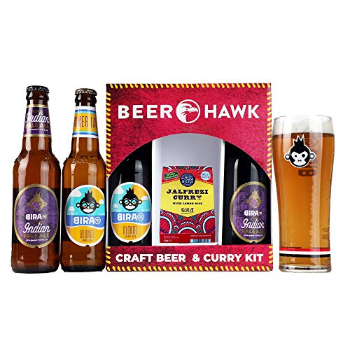 BEER-HAWK-Beer-And-Curry-Gift-Set-4-Craft-Beers-1-Pint-Glass-And-1-Curry-Kit-Perfect-Fathers-Day-Gift-For-Any-Beer-And-Curry-Lover-660-ml-AMX086