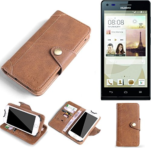 QUALITY PRODUCT for Huawei Ascend P7 Mini Protective Case Cover Mobile Phone bag protection Wallet Flip style made of Synthetic Leather Brown for Huawei Ascend P7 Mini - K-S-Trade