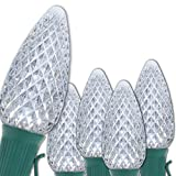 C9 OptiCore Cool White LED Commercial Outdoor Christmas Lights – Heavy Duty Christmas String Lights; Green Wire (50 lights, 50 ft, Cool White)