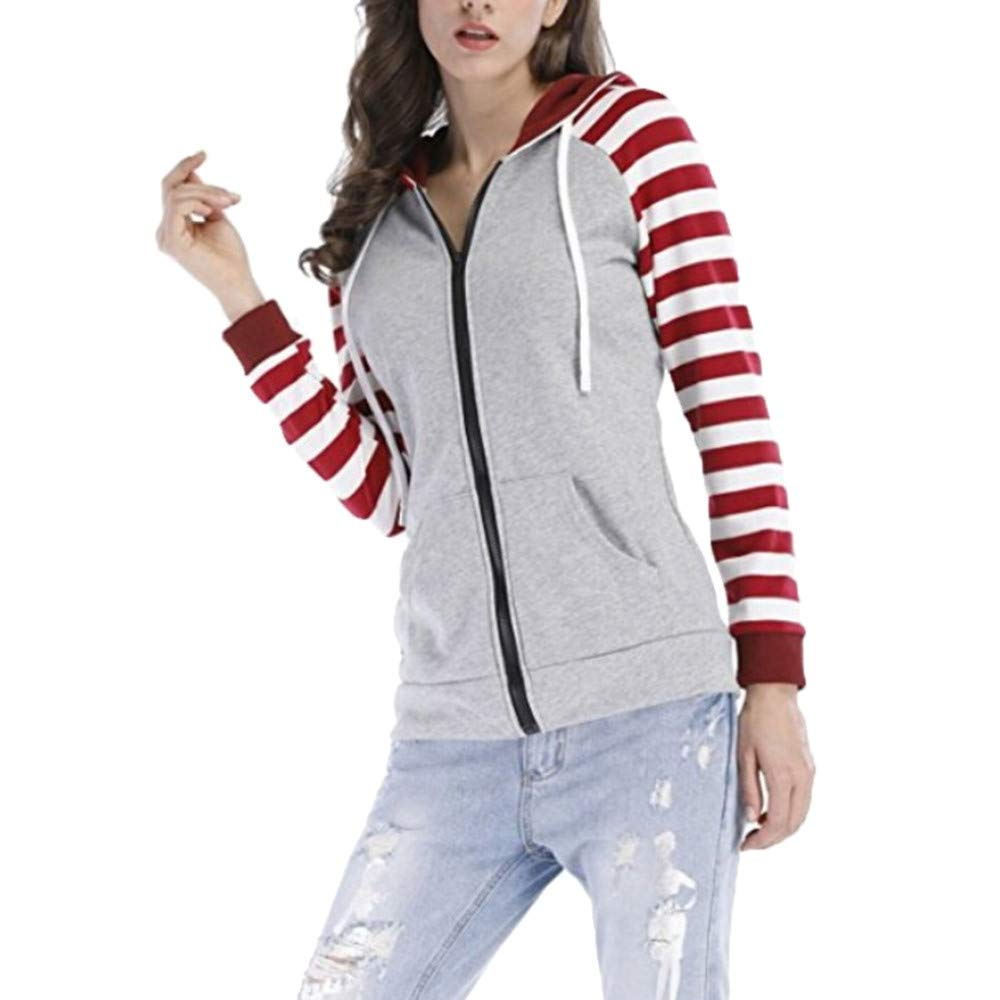 Preferential New Zlolia Women Autumn Long Sleeve Striped Pocket Sweatshirt Pullover Casual Blouse Tops Hoodie
