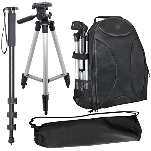 "Price comparison product image Pro Sports Kit For: Casio Exilim EX-F1,  Contax N Digital,  Epson C900Z,  Epson C920Z,  Epson R-D1,  Epson R-D1x,  Hasselblad X1D: Deluxe Photo Backpack + 50"" Tripod + 72"" Monopod"