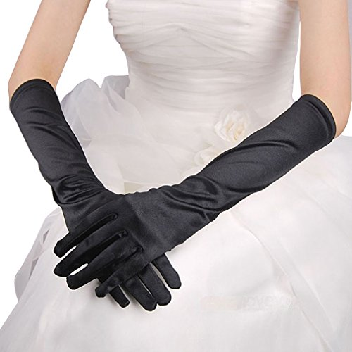 Dress Gloves, Costumes Gloves, WITERY Full Finger Stretchy Satin Party Fancy Dress Accessory / Bridal Wedding Gloves / Prom Dress Gloves Costumes Gloves For Ladies Women Black (Female Yoshi Costume)