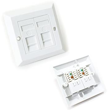 Wiring double rj45 socket auto electrical wiring diagram double port cat6 idc wall outlet face plate 2 way rj45 network rh amazon co uk rj45 jack wiring rj45 ethernet cable wiring diagram cheapraybanclubmaster Choice Image