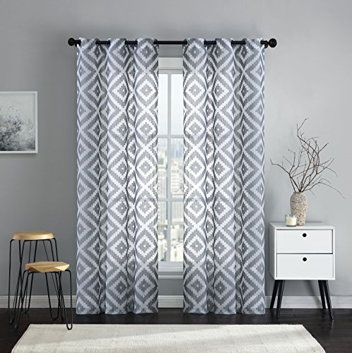 VCNY Home 2 Pack Emerson Semi Sheer Geometric Grommet Top Curtain Panels - Assorted Colors & Sizes (Charcoal Gray, 84 in. Long) (Geometric Charcoal)