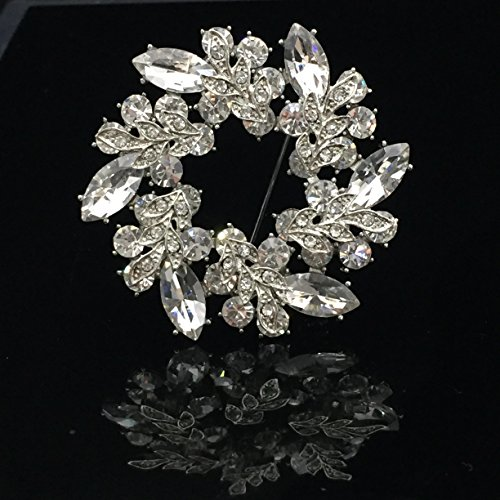 SHINYTIME rhinestone crystal brooch pin Wreath Silver-Tone for Women Bridal and Wedding or Party Clothing Embellishments 2.2X2.2 inches (Silver Tone Butterfly Brooch Pin)