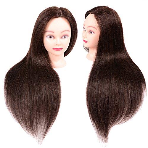 TopWigy Human Hair Cosmetology Mannequin Head Manikin Training Practice Training Doll Head Real Hair 20