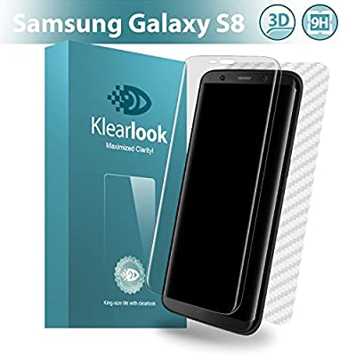 Klearlook [100% Full Coverage Tempered Glass] Samsung Galaxy S8 Screen Protector [Easy application](Bubble Free) + 1 Pack Back Carbon Fiber Film